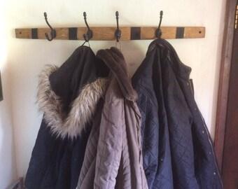 Oak barrel stave coat hanger