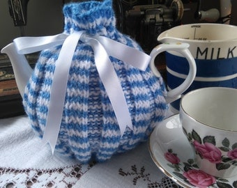 Hand Knitted Blue and White Tea Cosy