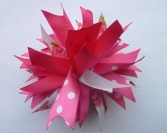 Spiky pink bow/Spikey pink bow/spikey bow/spiky bow/pink bow/floral bow/pink hair bow/floral hair bow/hair bow crocodile clip