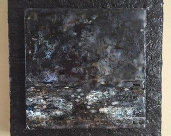 "Original Encaustic Art ""Just Beyond My Reach"" 8x8  abstract mixed media encaustic painting"