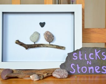 Pebble Art Picture 'Love Birds' - Ideal for Valentine - Gift for Partner - Family Member - Birthday - Anniversary