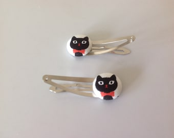 Cat hair clips, cat barrettes, cat lovers, black cat fabric covered button hair clip pair