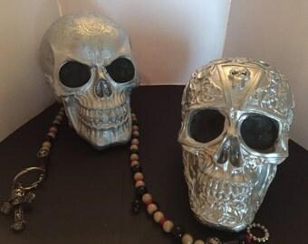 Handmade Silver Painted Metal Look Skull Heads