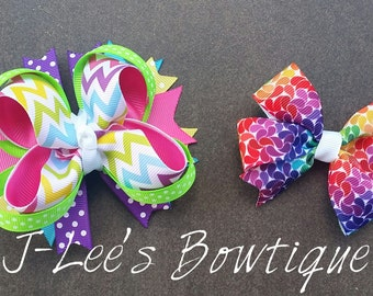 Colourful Bright Rainbow Boutique and Pinwheel Hair Bows