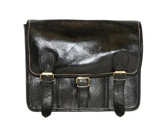Black Leather Messenger Satchel | Festival Style