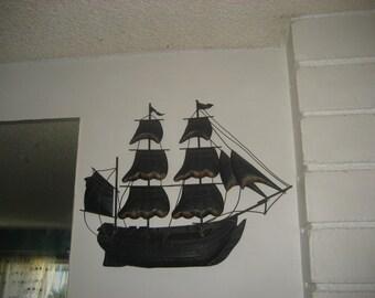Brass Ship Wall Hanging / Nautical Decor