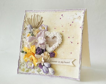 Forever in my Heart Handmade 5.5X5.5 inch Valentine card. Romantic shabby chic purple and yellow, gift for her, gift under 50