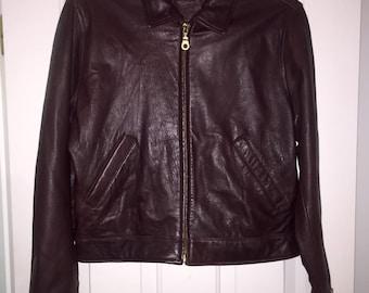 Jacqueline Ferrar Brown Leather Zip Up Jacket ~ Medium