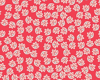 Coral Floral Fabric - Verona c2802 Rouge by Emily Taylor and RIley Blake Designs - Cotton Fabric Quilters Cotton - Hot Pink Fabric -