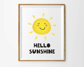 Hello Sunshine, 5 x 7 in, 8 x 10 in, Printable quotes, Nursery prints, Yellow prints, Baby quotes, Baby wall art, Art prints