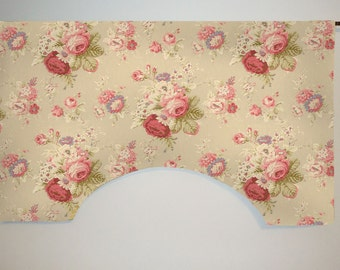 Waverly Sanctuary Rose Cabbage Rose Floral Custom Valance Curtain, Linen Color