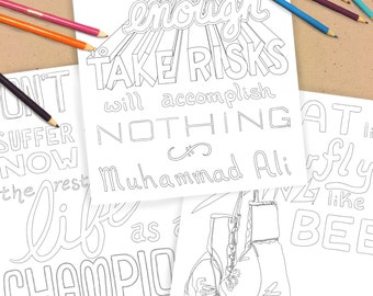 muhammad ali quotes coloring pages