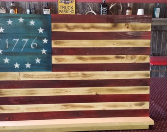 Handmade, Rustic, Betsy Ross, 1776 Flag Wall Hanging,