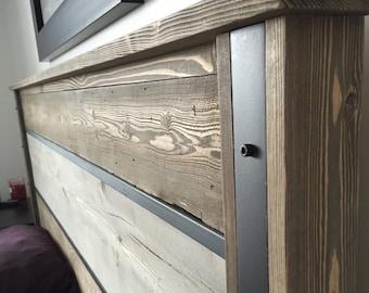 Rustic industrial headboard-handmade modern headboard with distressed rustic look.