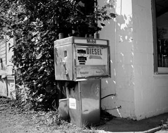 Summer sun lights an abandoned gas station