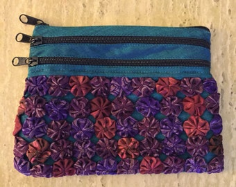 SALE! Zippered Bag with Hand Stitched Detailing