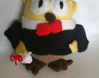 Knitted Graduation owl with cap and gown 18cm x 13cm x 9cm Handmade