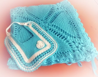 Blue Baby Blanket and Bib