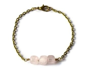 CLOSING SALE Rose Quartz Bracelet - The Terra Collection - Quartz Bracelet - Pink