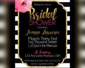 Stipes Bridal shower Invitations, bridal party, stripes and gold Invitation, Elegant Bridal shower invitations, Bridesmaid Luncheon