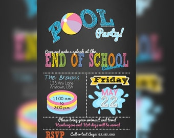 Pool party invitations, summer party invitations, End of the school year bash, pool party Birthday Invitations, Pool Party party invitation