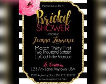 Bridal Shower Invite, Stripes Bridal shower Invitations, Spade Bridal Party, Black White Stripes, Bridesmaid Luncheon, Watercolor Flowers