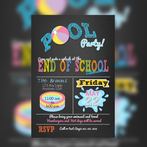Pool party invitations summer party invitations end of the - Pool school 123 ...