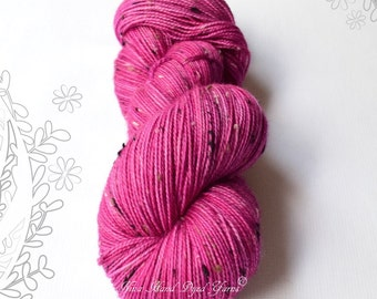 DONEGAL TWEED SOCK - Magenta Girl - hand dyed sock yarn, blend of merino wool and donegal nepps