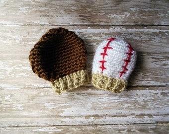 Crochet newborn Baby Boy Girl Baseball Mittens