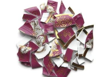 Mosaic tiles- Plum, Gold- Iridescent - Tessera- 68 tiles-Broken Plate #105