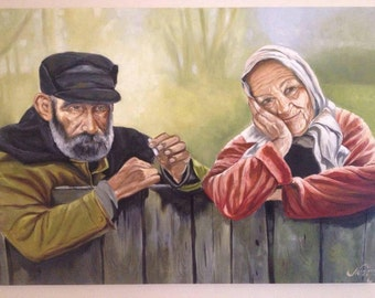 Oil painting old couple