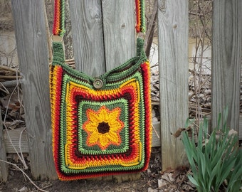 Sunflower Satchel, Sunflower Messenger Bag, Laptop Carrier, Purse, Crochet Bag, Back to School, Gifts For Her, Birthday Gift, College Bound