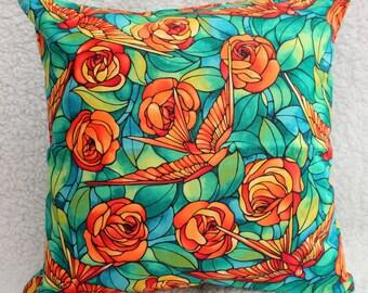 Green Cushion Cover, Orange Cushion Cover, Bird Cushion Cover, Rose Cushion Cover, Conservatory, Housewarming Gift, Birthday Gift