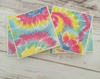 Tie Dye Ceramic Coasters, Peace Sign Coaster Set, Tile Coasters, Housewarming Gift, Gift For Women, Dorm Decor, Hippie Gift, Home Decor