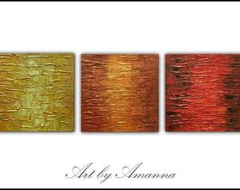 Original Abstract Painting, Textured Panels Set of 3, Modern Wall Art, Ready to Hang