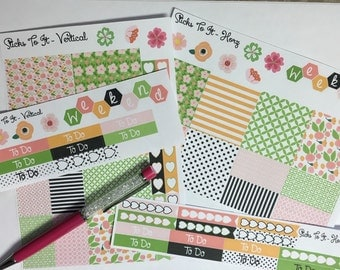 Spring Flowers ECLP Horz and Vert Planner Stickers - Full Week Set Floral ECLP Mambi Inkwell Press Filofax Kikki K Happy Life Planner