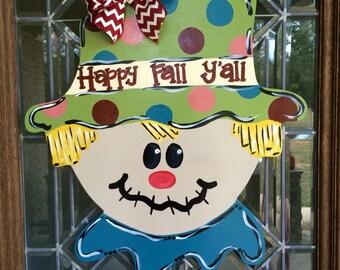 Fall scarecrow door hanger Happy fall yall door sign Fall wreath