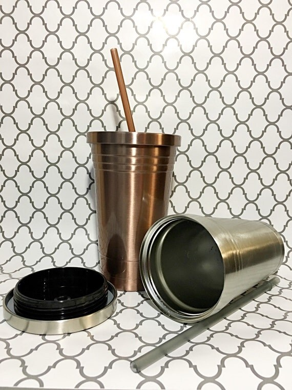 Stainless Steel Tumbler With Lid And Straw By Lhdesignsstudio