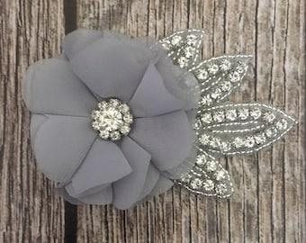 Grey hair clip, wedding hair clip, floral hair clip, rhinestone hair clip, vintage hair clip, flower hair clip