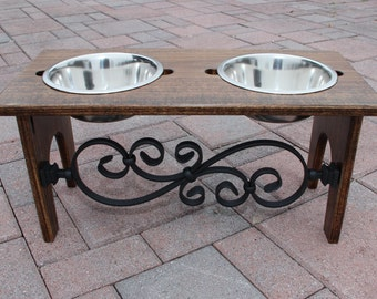 Wooden raised decorative feeding station for dogs