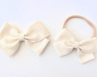 LINEN Bow- Cream- Baby Bow- Girl's Bow