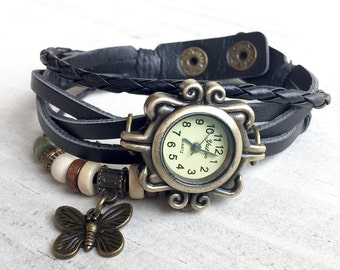Vintage Bracelet Watch Antique Watch Antique Brass Leather Strap Watch Leather Strap Bracelet Bohemian Bracelet Watch Boho Bracelet Watch