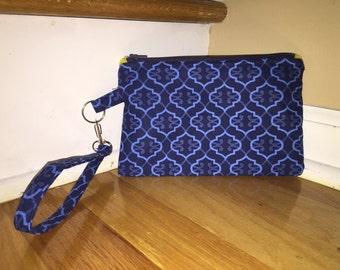 Blue clutch, wallet, cell phone holder, wristlet, purse