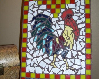 Colorful Rooster Mosaic Panel
