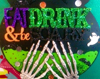 Handmade Eat Drink and be Scary Halloween Bar Sign