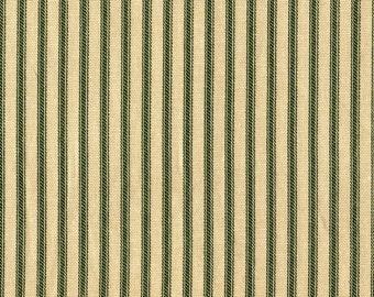 "15"" Queen Tailored Bedskirt, Sage Green Ticking Stripe"