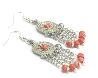 Earrings made of pewter and coral (imitation), Reconstruction of the IX century, The gift for girl