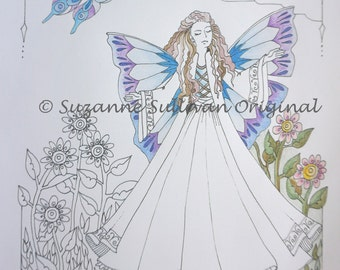 Fairy Coloring Page, Adult Coloring Page, Fantasy Coloring Page, Fairy and Flowers, Coloring Page, Teen Coloring, Art Therapy, DIY Coloring