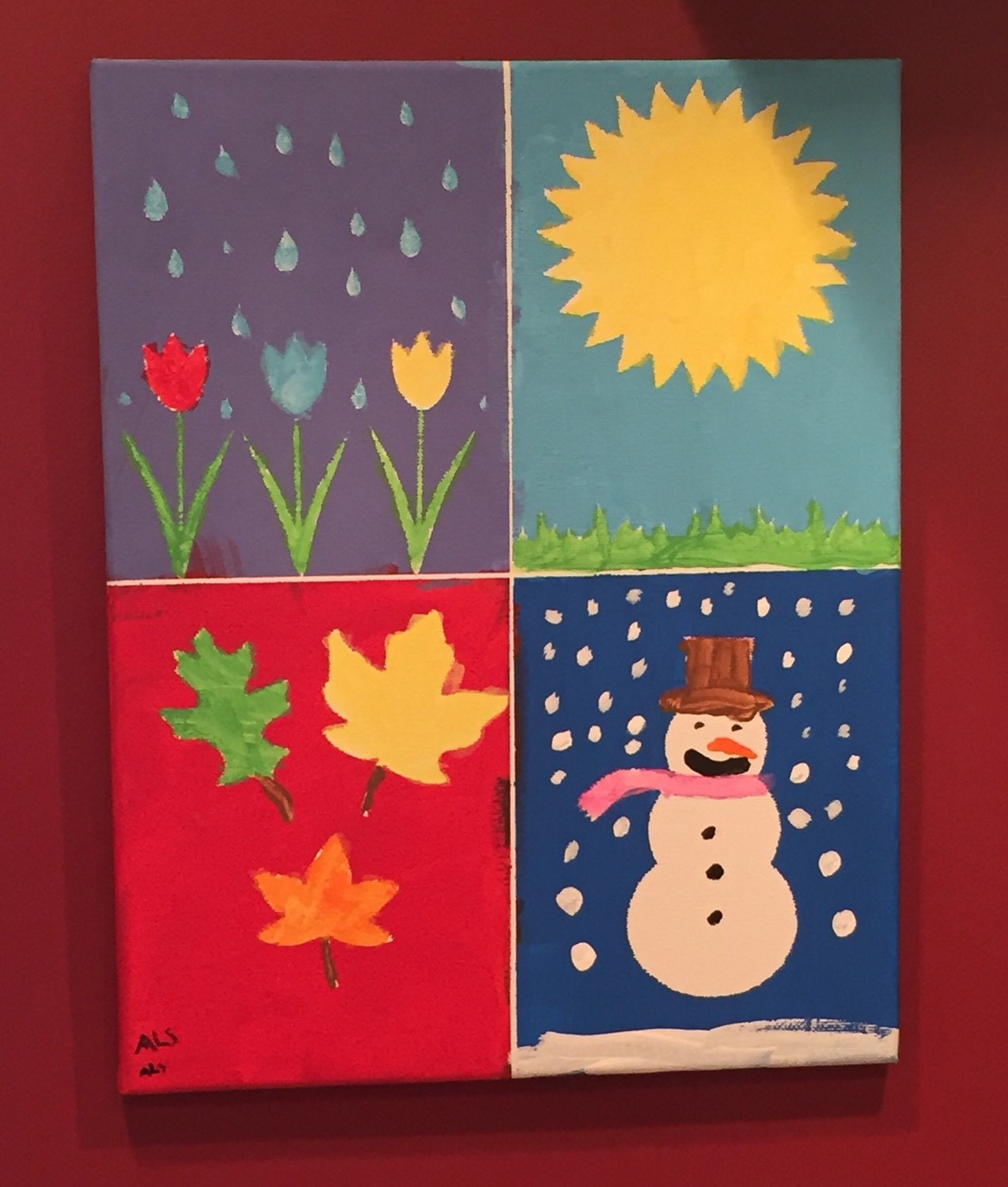 Calendar Craft Ideas Ks2 : Diy canvas painting for kids four seasons wall art custom