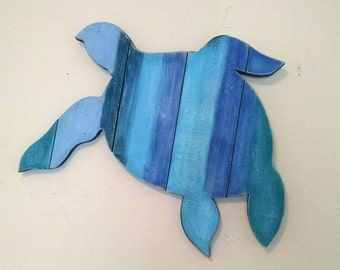 Sea Turtle Hand-Painted Reclaimed Wooden Sign